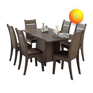 Mesa de Jantar com 6 Cadeiras Olympia Carvalho Fit Madesa