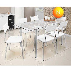 Conjunto de Mesa de Jantar Tampo Vidro 6 Cadeiras Branca Somopar