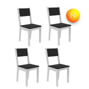 Cadeira Madesa Rubia Fit 4425B Branco Preto C/4