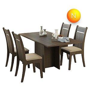 Mesa de Jantar com 4 Cadeiras Olympia Carvalho Fit Madesa