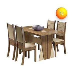Mesa de Jantar com 4 Cadeiras Rústico Creme Premium Fit Madesa