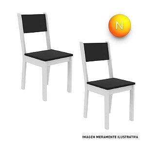 Cadeira Madesa Rubia Fit 4425B Branco Preto C/2