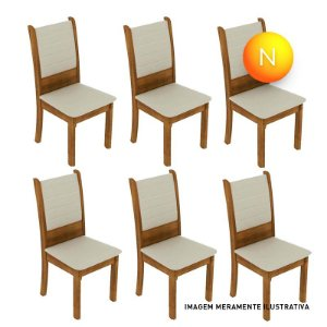 Cadeira Premium Fit Rústico Bege Madesa C/6