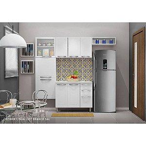Cozinha Compacta em Aço Casa Mob City 8 Portas 3 Gavetas Branco Sal