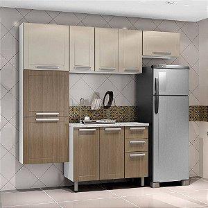Cozinha em Aço Compacta Casamob City 7 Portas Madeira Canela 3 Peças