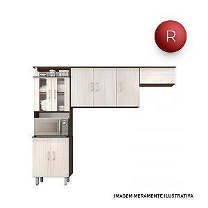 Cozinha Compacta Poliman Móveis Berna Nicho para Forno ou Micro-ondas 8 Portas
