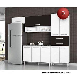 Cozinha Compacta Brenda 6 Portas e 2 Gavetas Aramóveis Sem Balcão 2012011 Branco Preto