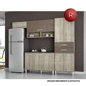 Cozinha Compacta Brenda 6 Portas e 2 Gavetas Aramóveis Sem Balcão 2012011 Teka Brown