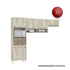 Cozinha Compacta Aramóveis Emily Nicho para Forno 8 Portas 2 Gavetas Sem Balcão