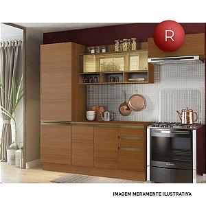 Cozinha Compacta Madesa New Glamy Sem Balcão 5 Portas 2 Gavetas Com Vidro Reflecta
