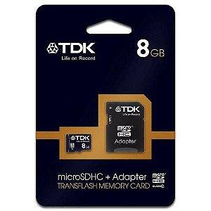 Cartão de Memória 8Gb Micro SDHC + Adaptador - TDK