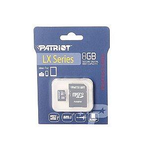 Cartão de Memória 8Gb Micro SDHC + Adaptador LX Series - Patriot