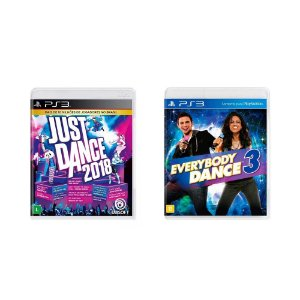 Kit Gamer - Just Dance 2018 + Everybody Dance 3 - PS3