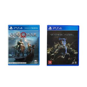 Kit Gamer - God of War + Terra Média Sombras da Guerra - PS4