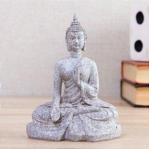 Enfeite de Resina Buda Tendai Cinza 15cm
