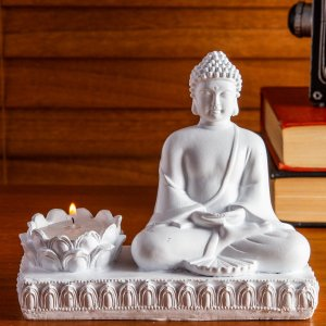 Porta-Vela Buda Tendai Branco 15cm