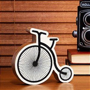 Enfeite de Madeira Bicicleta Preta e Natural
