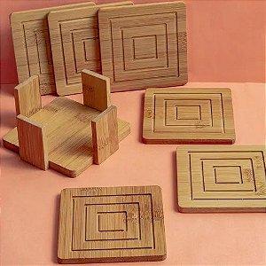 Jogo de Porta-Copos Quadrados de Bambu Rust Grate com 5 Peças - Etna
