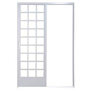 Porta De Correr Quadriculada Em Aço 1 Folha Alumínio MGM Branco 2,15x1,60cm