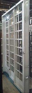 Porta De Correr Aço 3 Folhas Quadriculada Mgm 215cmx160cm Branco