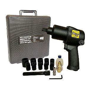 "Kit Chave de Impacto Pneumática 1/2"" 69 Kg com Soquetes MXT-0532K MAXX TOOLS"