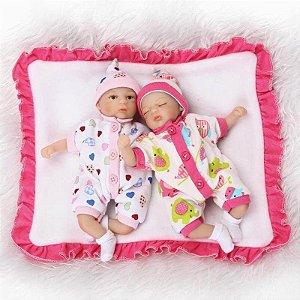 Mini Bebês Reborn Gêmeos Vivian e Viviane
