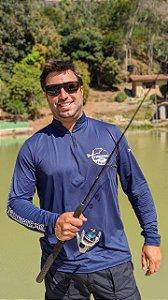 Camisa Pescaria dos Amigos c/ Protetor UV e UVB - Azul Marinho
