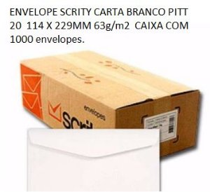 ENVELOPE SCRITY CARTA BRANCO PITT 20  114 X 229MM 63g/m2  CAIXA COM 1000