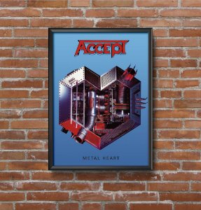 Quadro Placa Decorativo Banda Accept Metal Heart Azul