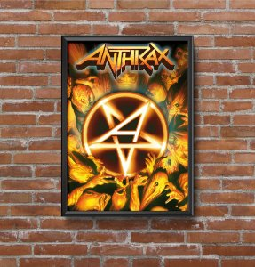 Quadro Placa Decorativo Banda Anthrax Workship Music Amarelo