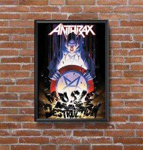 Quadro Placa Decorativo Banda Anthrax Music Of Mass Destruction Preto