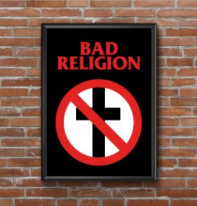 Quadro Placa Decorativo Banda Bad Religion Preto & Branco