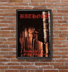 Quadro Placa Decorativo Banda Bathory Under The Sign Of The Black Mark Preto & Vermelho