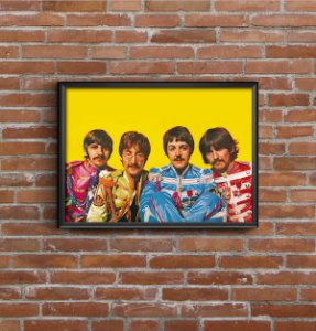 Quadro Placa Decorativo Banda The Beatles Amarelo