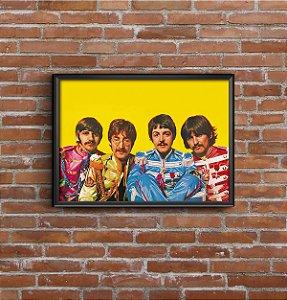 Quadro Placa Decorativo Banda The Beatles Amarelo