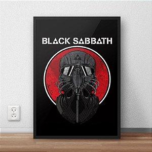 Quadro Placa Decorativo Banda Black Sabbath Never Say Die Preto & Vermelho