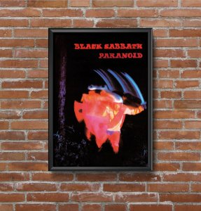 Quadro Placa Decorativo Banda Black Sabbath Paranoid Preto & Vermelho