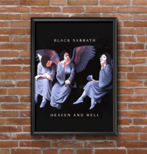Quadro Placa Decorativo Banda Black Sabbath Heaven And Hell Preto & Branco