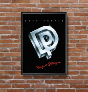 Quadro Placa Decorativo Banda Deep Purple Perfect Strangers Preto & Prata