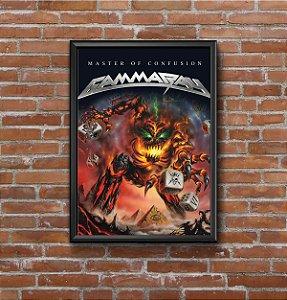 Quadro Placa Decorativo Banda Gamma Ray Master Of Confusion Preto & Laranja
