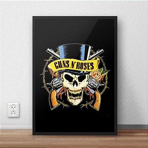 Quadro Placa Decorativo Banda Guns N' Roses Bad Obsession Preto & Amarelo