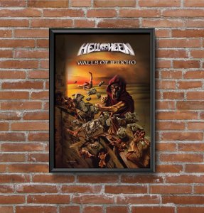 Quadro Placa Decorativo Banda Helloween Walls Of Jericho Preto & Amarelo