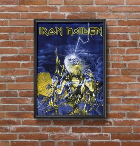Quadro Placa Decorativo Banda Iron Maiden Live After Death Azul & Amarelo