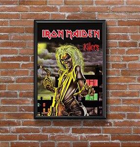 Quadro Placa Decorativo Banda Iron Maiden Killers Preto & Vermelho