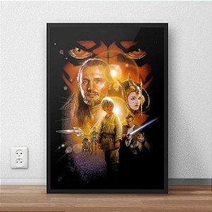 Quadro Placa Decorativo Filme Saga Star Wars - A Ameaça Fantasma Preto & Laranja
