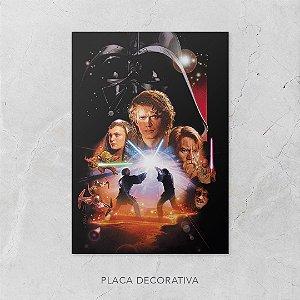 Quadro Placa Decorativo Filme Saga Star Wars - A Vingança Dos Sith Preto & Laranja