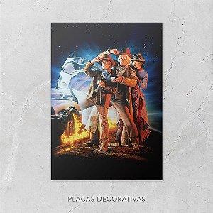 Quadro Placa Decorativo Filme De Volta Para O Futuro Marty McFly & Doctor Brown Azul & Amarelo