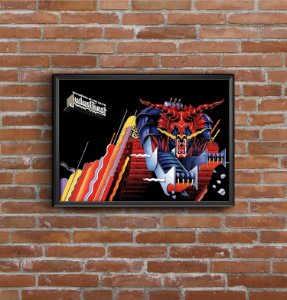 Quadro Placa Decorativo Horizontal Banda Judas Priest Defenders Of The Faith Azul & Vermelho