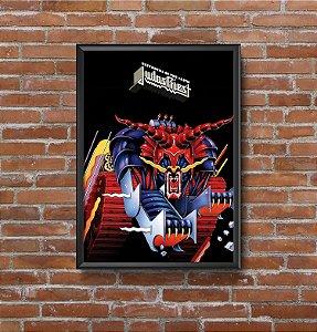 Quadro Placa Decorativo Vertical Banda Judas Priest Defenders Of The Faith Azul & Vermelho
