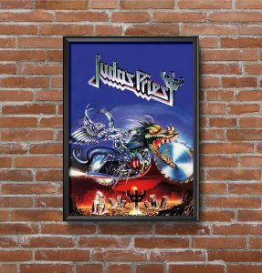 Quadro Placa Decorativo Banda Judas Priest Painkiller Azul & Prata